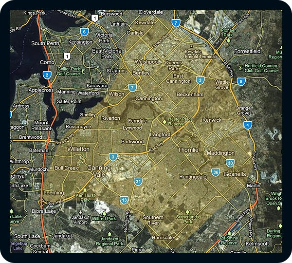 Perth Auto Electrician - Service Area Map